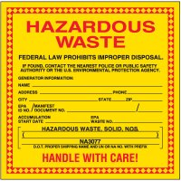 Hazardous Solid Waste Labels