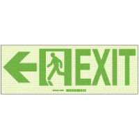 Hi-Intensity Photoluminescent Exit with Left Arrow Sign