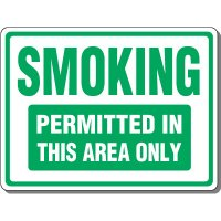 Heavy-Duty Smoking Signs - Smoking Permitted In This Area Only