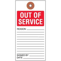Out Of Service Tyvek Tag
