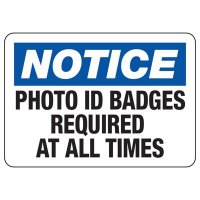 Notice Photo ID Badges Required Sign