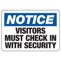 Visitors Must Check In Sign