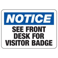 Notice Visitor Badge Required Sign