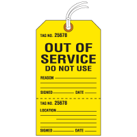 Jumbo Cardstock Tear-Off Safety Tags - Out of Service