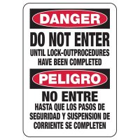Lock-Out Signs - Bilingual Danger Do Not Enter