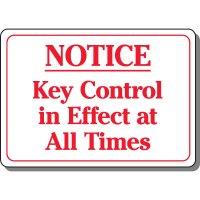 Notice Key Control Security Sign