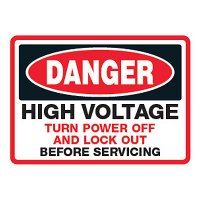 Lock Out Signs - High Voltage Turn Power Off And Lock Out