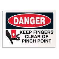 Machine Safety Labels - Danger Keep Fingers Clear Of Pinch Point