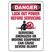 Danger Lock Out Power Before Servicing Sign