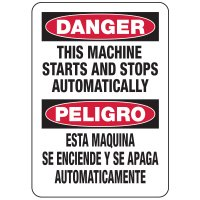 Bilingual Danger This Machine Starts & Stops Automatically Sign
