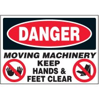 Machine Safety Labels - Danger Moving Machinery Keep Hands & Feet Clear