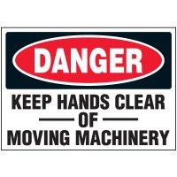 Machine Safety Labels - Danger Keep Hands Clear Of Moving Machinery