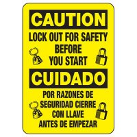 Lock-Out Signs - Bilingual Caution Lockout for Safety Before You Start