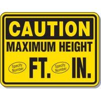 Semi-Custom Giant Clearance & Crane Signs - Caution Maximum Height