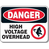 Electrical Safety Signs - Danger High Voltage Overhead with Graphic
