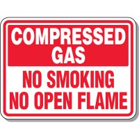 Chemical & Flammable Signs - Compressed Gas No Smoking No Open Flame