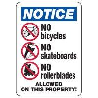 Notice No Bicycles Hazard Sign