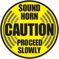 Caution Sound Horn Floor Label