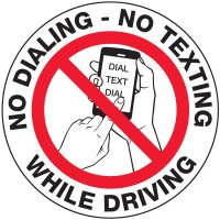 No Texting Security Labels - No Dialing No Texting While Driving (White)