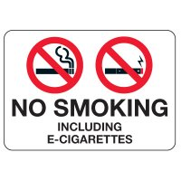 No Smoking Signs - No Smoking Including E-Cigarettes