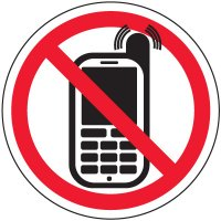 No Texting Security Labels - ISO No Activated Phones Pictogram