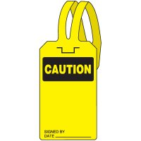Caution Self-Fastening Tag