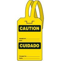 Bilingual Caution Self-Fastening Tag