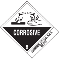 Corrosive Liquids UN1760 DOT Shipping Labels