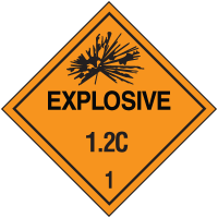 Explosive 1.2B Hazard Class 1 Material Shipping Labels