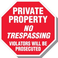 Private Property No Trespassing Violators Will Be Prosecuted Octagon Sign