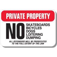 Private Property No Skateboards Sign