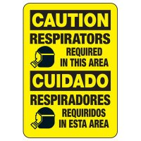 Bilingual Caution Respirators Required Sign