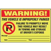 Improperly Parked Parking Violation Warning Labels