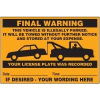 Final Warning Parking Violation Labels