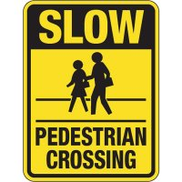 "SLOW Pedestrian Crossing - 24"" H x 18"" W Aluminum Foil Non-Reflective Traffic Control Yellow Warning Sign"
