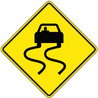 Reflective Warning Signs - Swerving Car (Symbol)
