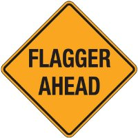 Reflective Warning Signs - Flagger Ahead