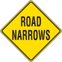 Road Narrows Traffic Sign