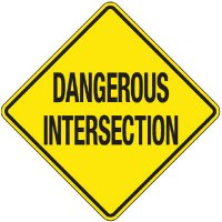 Reflective Warning Signs - Dangerous Intersection