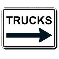 Reflective Parking Lot Signs - Trucks (Left/Right Arrow)