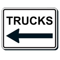 Reflective Parking Lot Signs - Trucks (Left/Right Arrow)