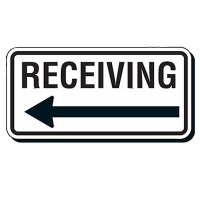 Reflective Parking Lot Signs - Receiving (With Arrow)