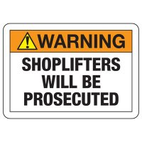 Shoplifting Signs - Warning Shoplifters