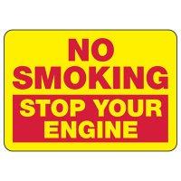 No Smoking Stop Engine Sign