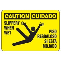 Bilingual Caution Slippery When Wet Sign