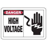 Safety Alert Signs - Danger High Voltage