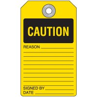 Caution Self-Laminating Accident Prevention Tag