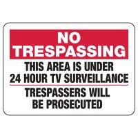 No Trespassing Area Under 24 Hour Surveillance Sign