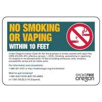 Oregon Smoke-Free Workplace Law Signs - No Smoking Or Vaping