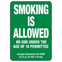 Georgia Smoking Is Allowed Sign